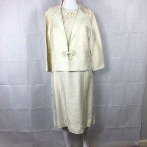 R&K Originals Vtg 1950s Cream Dress Suit Sz 10
